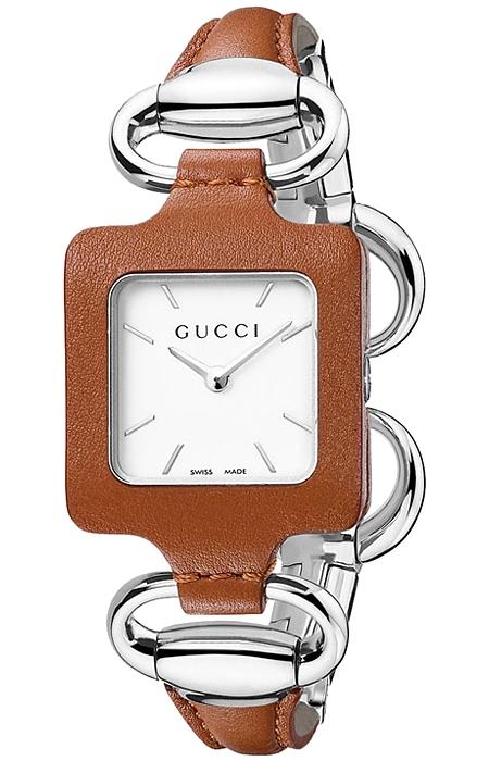 d776bab1a3e Gucci 1921 Steel Bangle Brown Leather Womens Watch YA130401