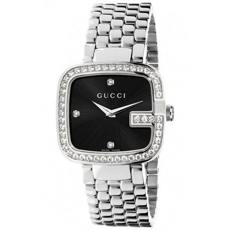 cd312682bd2 Gucci G-Gucci Black Dial Diamond Bezel Womens Watch YA125412