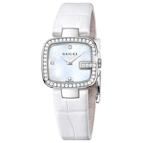 Gucci G-Gucci Pearl Diamond Dial Steel Womens Watch YA125514