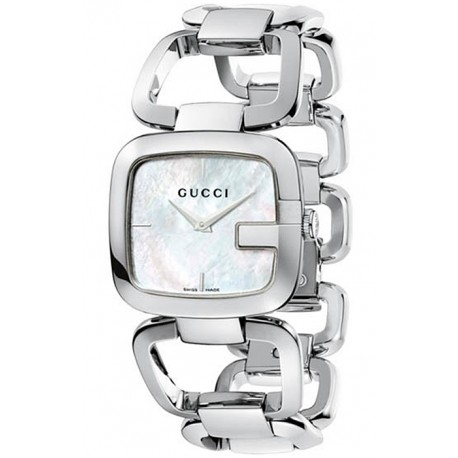 Gucci G-Gucci Steel Bracelet Pearl Dial Womens Watch YA125404