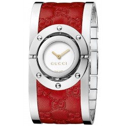 Gucci Twirl Large Red Leather Womens Watch YA112435