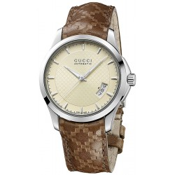 Gucci G-Timeless Automatic Brown Leather Mens Watch YA126421