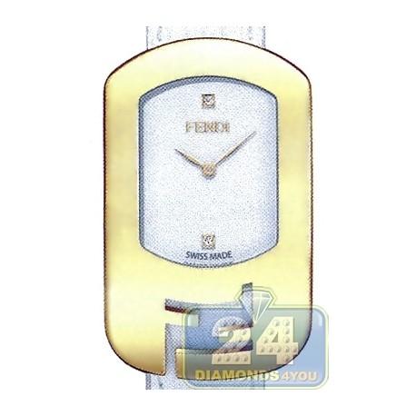 F300434041D1 Fendi Chameleon Yellow Gold White Dial Watch 29mm