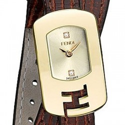 F301425021D1 Fendi Chameleon Double Wrap Brown Strap Yellow Gold Watch 18mm