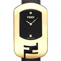 F300421011D1 Fendi Chameleon Black Dial Womens Yellow Gold Watch 18mm