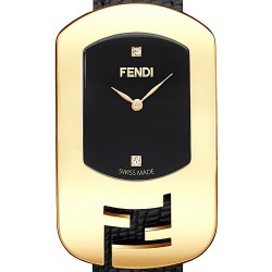 F300431011D1 Fendi Chameleon Black Dial Womens Yellow Gold Watch 29mm