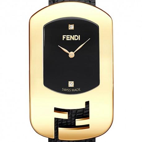 F300431011D1 Fendi Chameleon Black Dial Womens Yellow Gold Watch 29mm