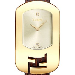 F300435021D1 Fendi Chameleon Champagne Dial Womens Yellow Gold Watch 29mm