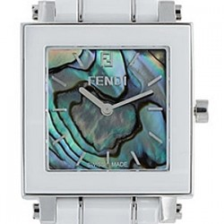 F626110 Fendi White Ceramic Square Abalone Dial Womens Watch