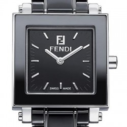F621210 Fendi Black Ceramic Square Womens Bracelet Watch 25mm