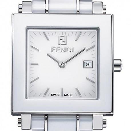 F622140 Fendi White Ceramic Square Womens Bracelet Watch 32mm