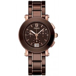 F674120 Fendi Brown Ceramic Round Chronograph Rose Gold Watch 38mm