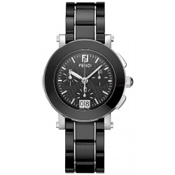 F661110 Fendi Black Ceramic Round Chronograph Womens Watch 38mm