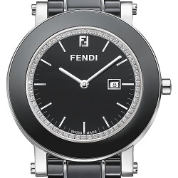 F641110D Fendi Black Ceramic Round Womens Diamond Watch 38mm