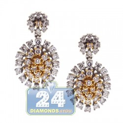 18K Two Tone Gold 1.00 ct Diamond Cluster Womens Drop Earrings