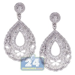 18K White Gold 4.01 ct Diamond Womens Oval Dangle Earrings