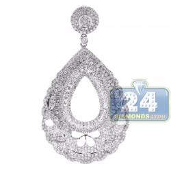 18K White Gold 2.83 ct Diamond Womens Drop Pendant