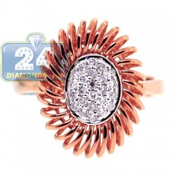 18K Rose Gold 0.20 ct Diamond Womens Openwork Flower Ring