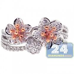 18K Two Tone Gold 1.10 ct Diamond Womens Multi Flower Ring