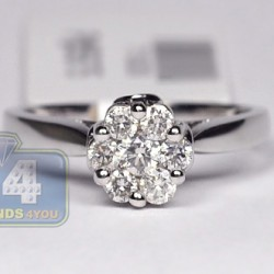 14K White Gold 0.58 ct Diamond Womens Flower Engagement Ring