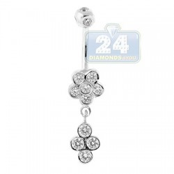 14K White Gold 1.00 ct Diamond Flower Womens Dangle Belly Ring