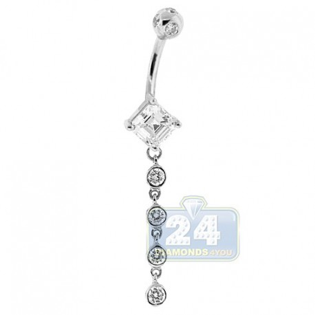 14K White Gold 1.60 ct Asscher Diamond Womens Dangle Belly Ring