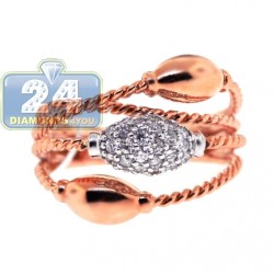 18K Rose Gold 0.42 ct Diamond Womens Wire Ring