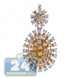 18K Two Tone Gold Diamond Cluster Womens Drop Pendant
