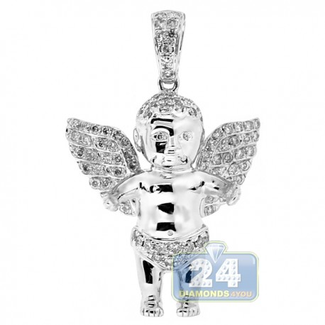 Mens Diamond Baby Angel Wings Pendant 10K White Gold 0.93ct