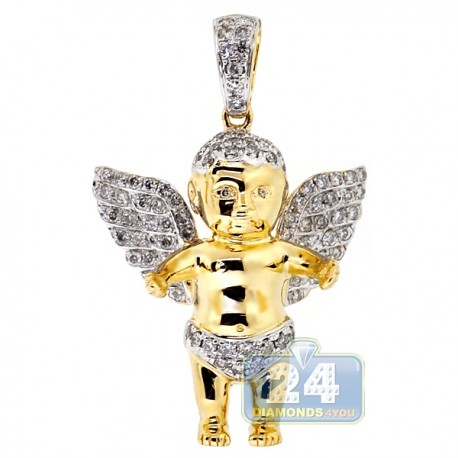 Mens Diamond Baby Angel Wings Pendant 10K Yellow Gold 0.93ct