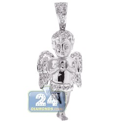 Mens Diamond Praying Angel Pendant Solid 10K White Gold 1.30ct