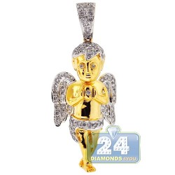 Mens Diamond Praying Angel Pendant Solid 10K Yellow Gold 1.32ct