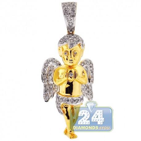 Mens Diamond Praying Angel Pendant Solid 10K Yellow Gold 1.32ct