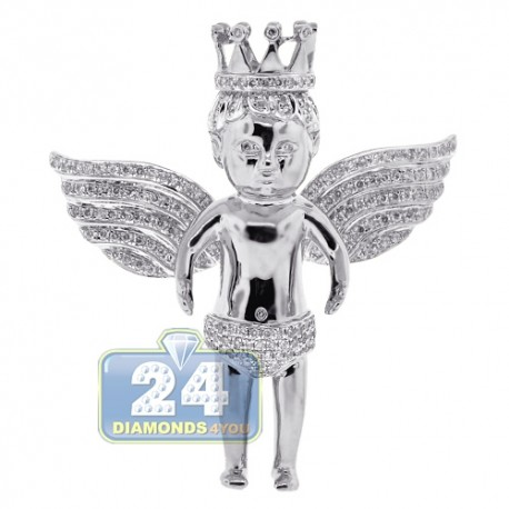 Mens Diamond Crowned Angel Pendant 14K White Gold 2.41ct