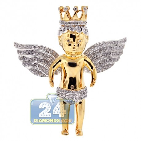 Mens Diamond Crowned Angel Pendant 14K Yellow Gold 2.40ct
