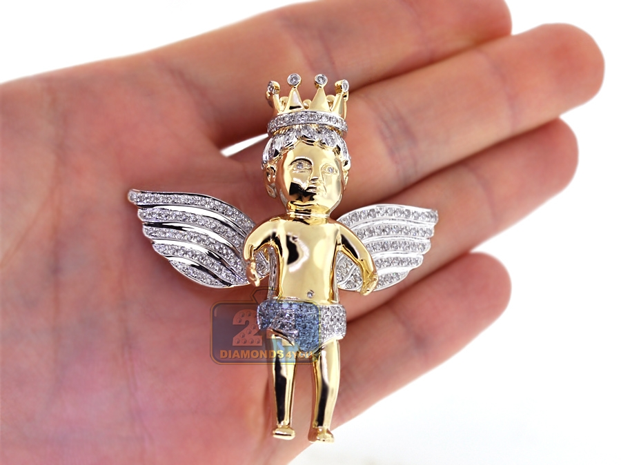 14k yellow gold 240 ct diamond mens angel pendant next aloadofball Image collections