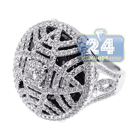 14K White Gold 3.52 ct Diamond Womens Filigree Dome Ring