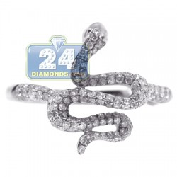 14K White Gold 0.53 ct Diamond Womens Graceful Snake Ring