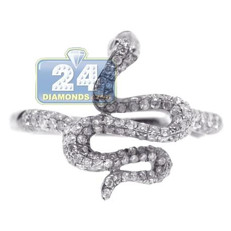 14K White Gold 0.53 ct Diamond Womens Graceful Snake Ring