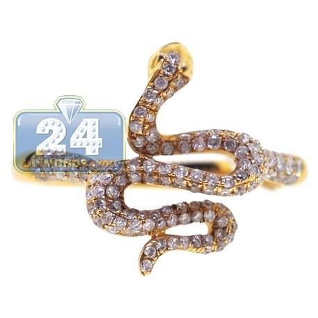 14K Yellow Gold 0.53 ct Diamond Womens Petite Snake Ring