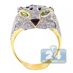 14K Yellow Gold 1.93 ct Diamond Tiger Face Mens Ring