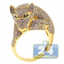 14K Yellow Gold 2.92 ct Diamond Panther Cat Head Womens Ring