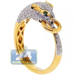 14K Yellow Gold 0.78 ct Diamond Womens Panther Cat Ring
