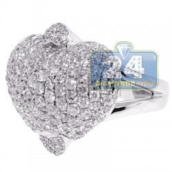 14K White Gold 3.47 ct Diamond Womens Heart Ring