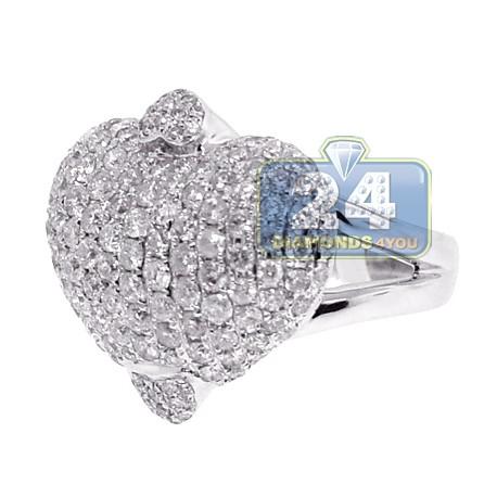14K White Gold 3.47 ct Diamond Womens Heart Ring