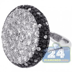 14K White Gold 6.89 ct Black Diamond Womens Dome Ring