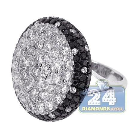 14K White Gold 6.89 ct Black Diamond Womens Dome Ring