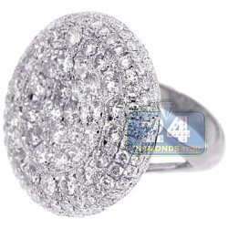 14K White Gold 7.04 ct Diamond Womens Round Dome Ring