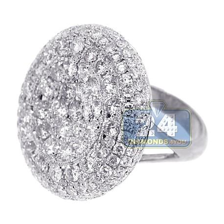 14K White Gold 7.04 ct Diamond Womens Round Dome Ring