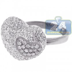 14K White Gold 2.34 ct Diamond Womens Double Heart Ring